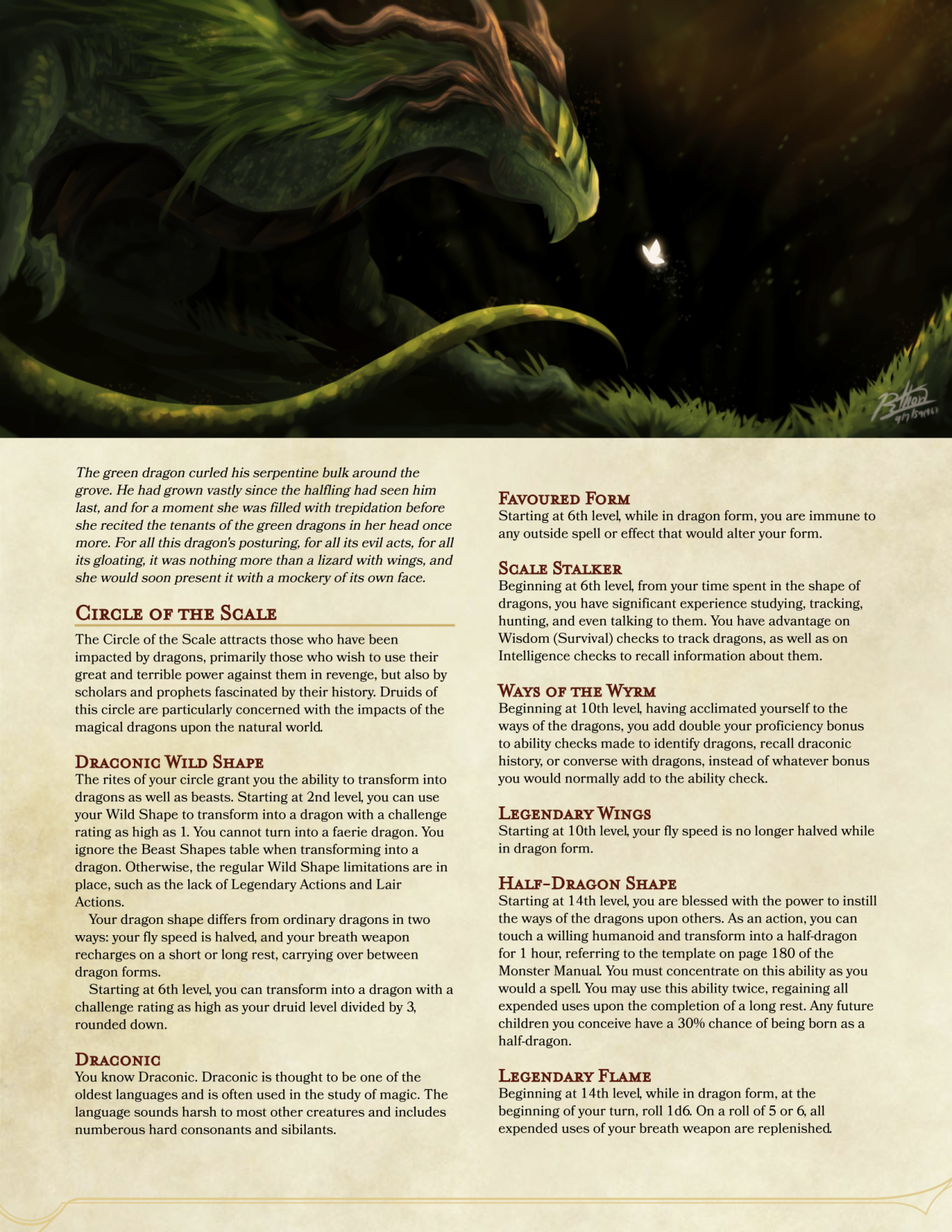 Circle of the Scale: DnD 5e Homebrew | Paracosm in 2019