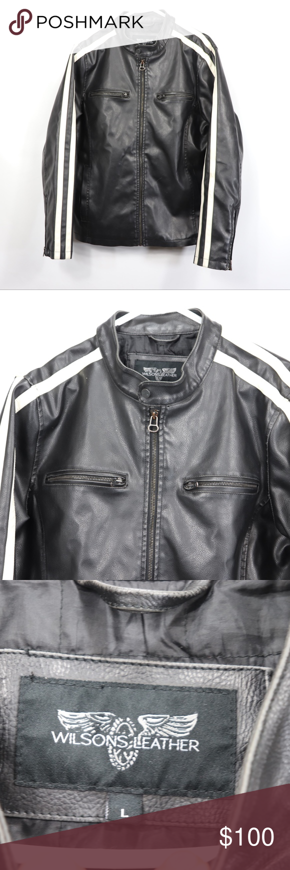 Wilsons Leather Mens Cafe Racer Jacket Black Wilsons