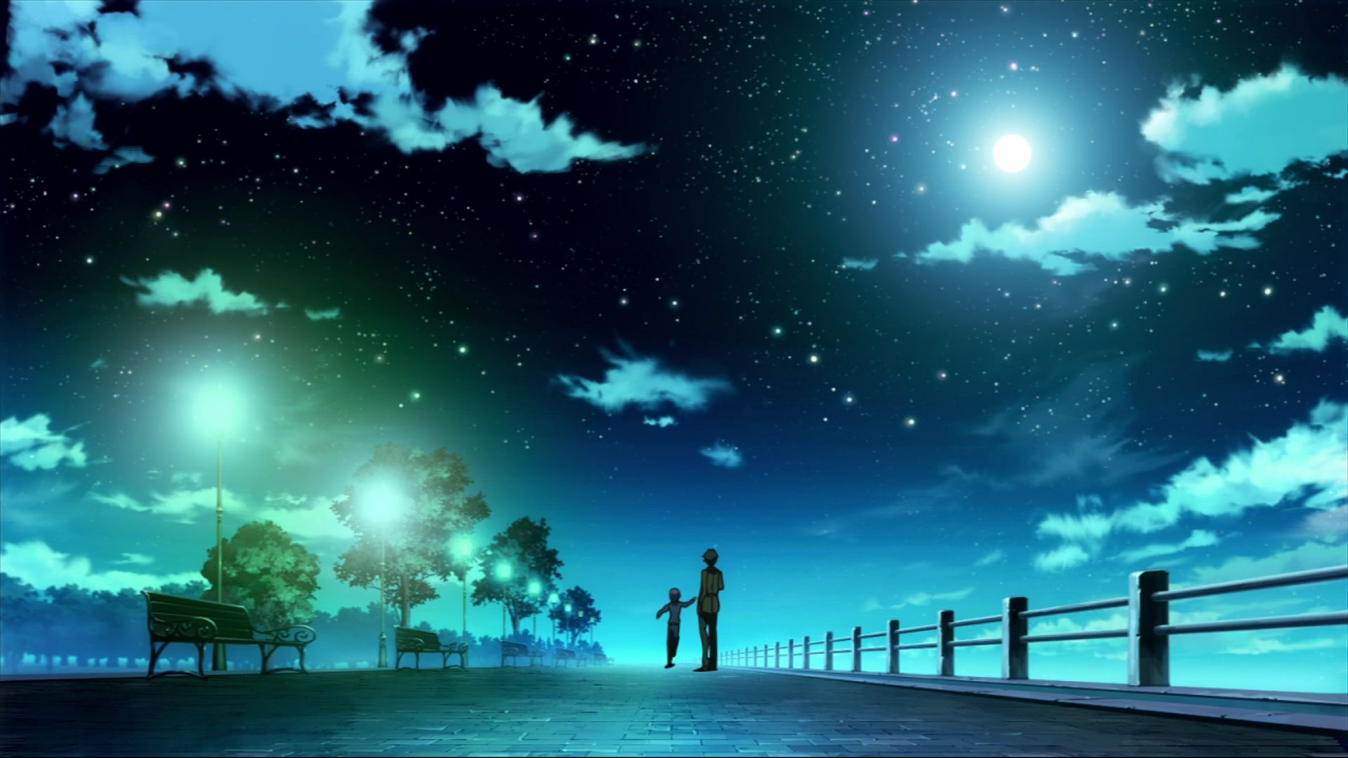 Perfect Pictures Anime Blue Starry Sky Beautiful Night