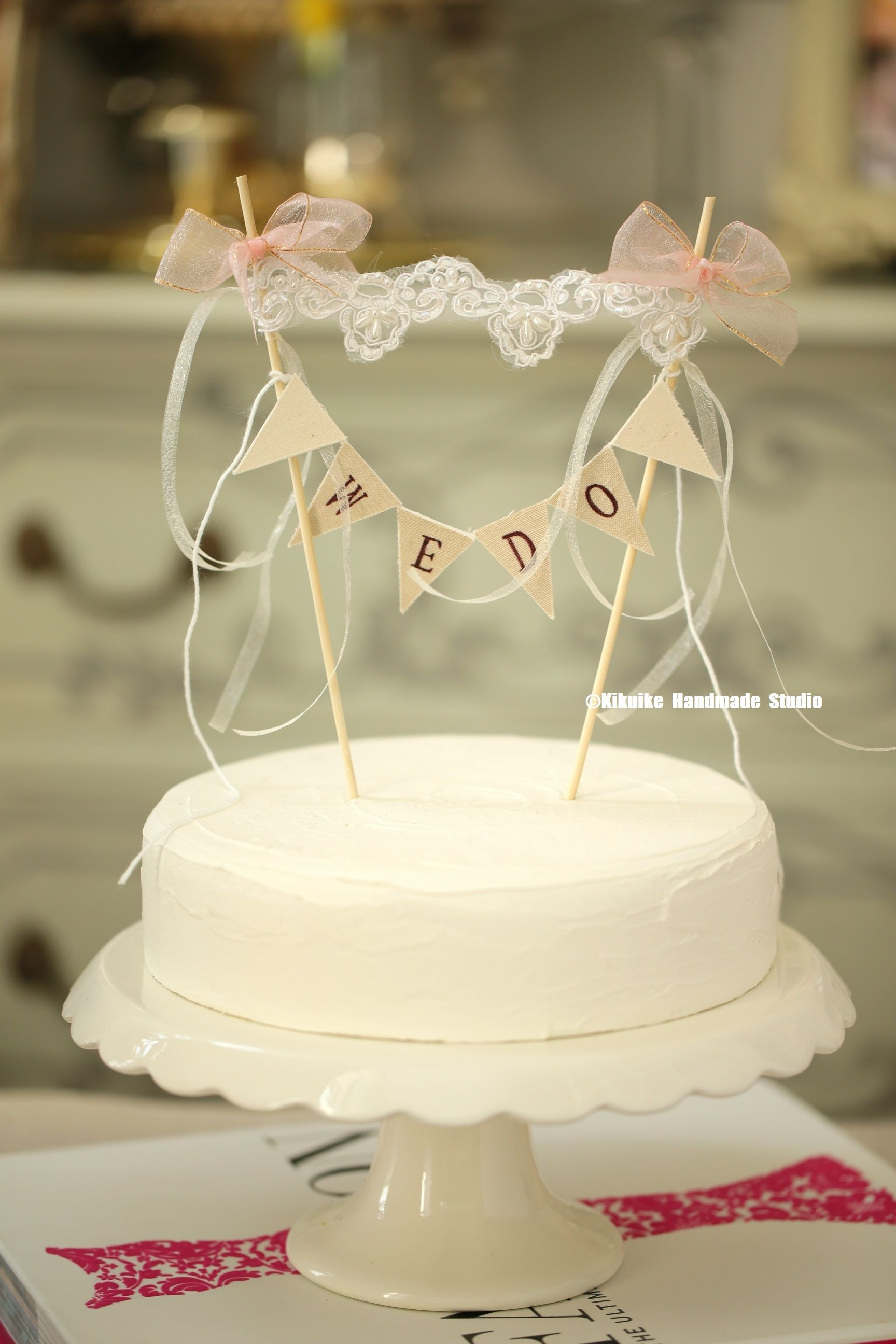 We Do Wedding Cake Banner,Lace cake topper,Rustic wedding Cake ...