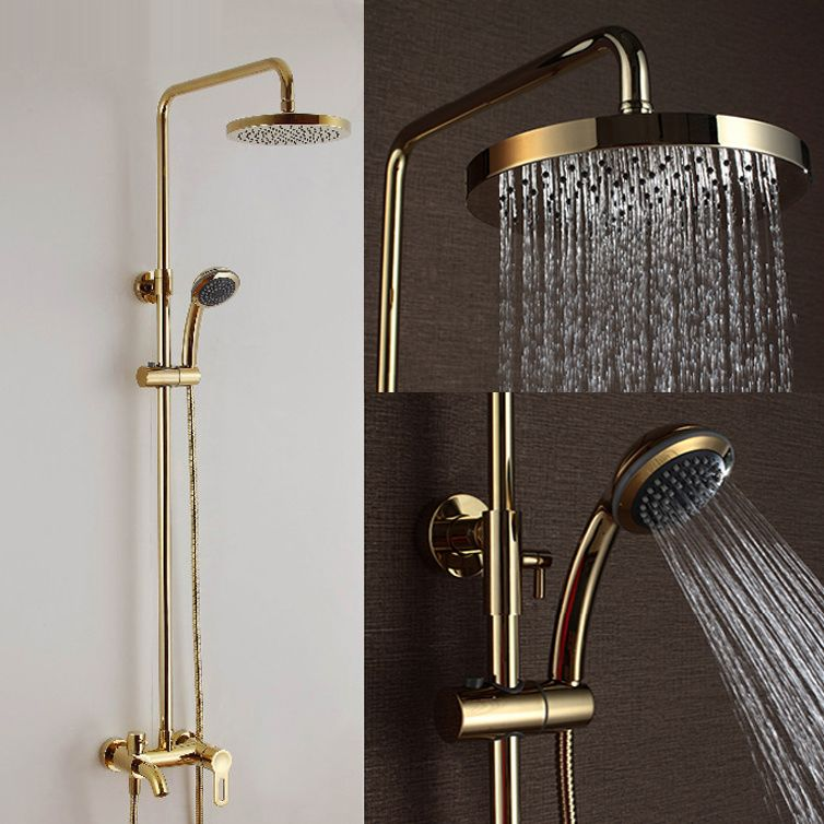 Wall Mount 8 Inch Bathroom Gold Finish Hot And Cold Shower Set