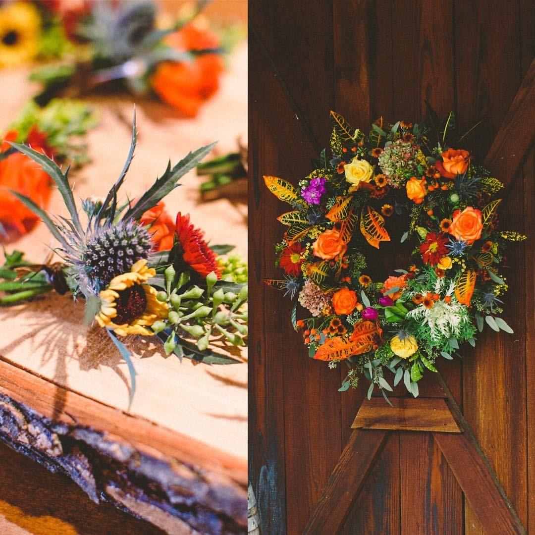 Fall Floral Wedding Wreath And Bouts For Ranch Wedding At