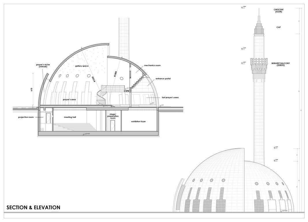 Plan Elevation Section Of Mosque : Media for yesil vadi mosque openbuildings افكار