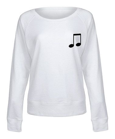 This White Music Note Slouchy Pullover is perfect! #zulilyfinds