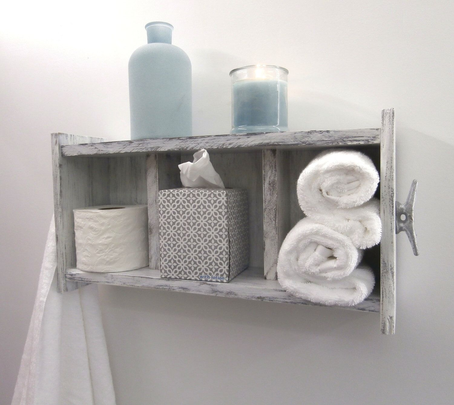 Distressed White Bathroom Shelving Over the Toilet–Chunky Bathroom ...