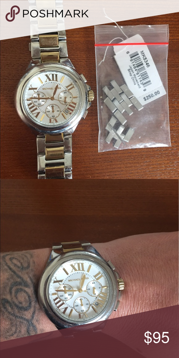 Michael Kors large faces gold and silver watch No scratches on the Crystal. Some wear  on the band shows. I still have the original links that I can send with them if you need to adjust the size. Michael Kors Jewelry