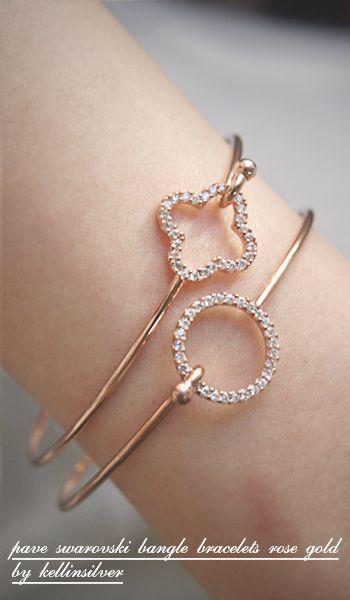 Pave Swarovski Circle Cuff Rose Gold Gold bangles Costume jewelry