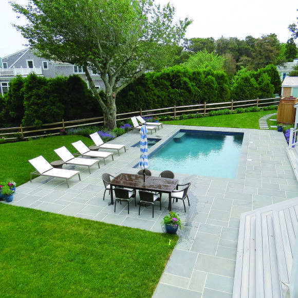 Beautiful Limestone Patio, Multiple Seating Area Around