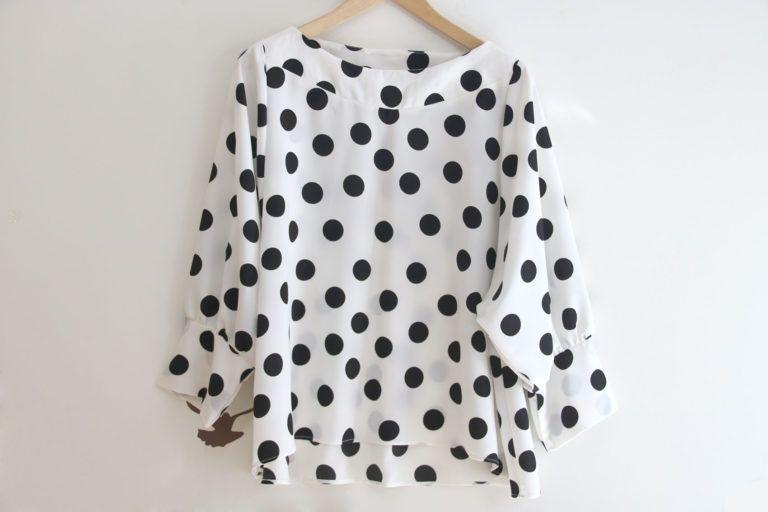 Costura: Blusa de lunares para mujer (patrones gratis) | | Oh ...