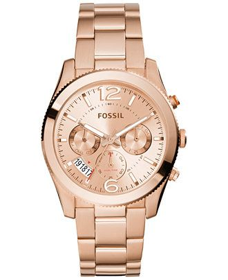 cbeb6ec29d16 Fossil Women s Perfect Boyfriend Rose Gold-Tone Stainless Steel Bracelet  Watch 40mm ES3885 - Watches