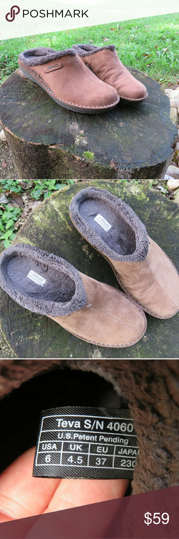 c01aad20e1d9 Teva Fall Sherpa Fleece Leather Comfort Clog Mule Comfort and style you ve  come to