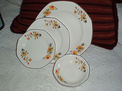 4 Pc. Vintage Homer Laughlin China Yellowstone Medieval Rose 3 Plates 1 Bowl | Pottery & 4 Pc. Vintage Homer Laughlin China Yellowstone Medieval Rose 3 ...