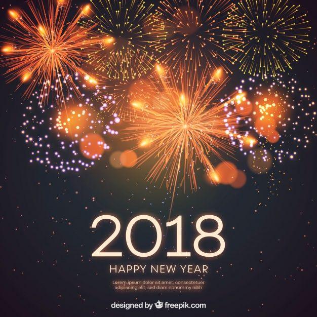 Fondo De Ano Nuevo 2018 Con Fuegos Artificiales Realistas Vector