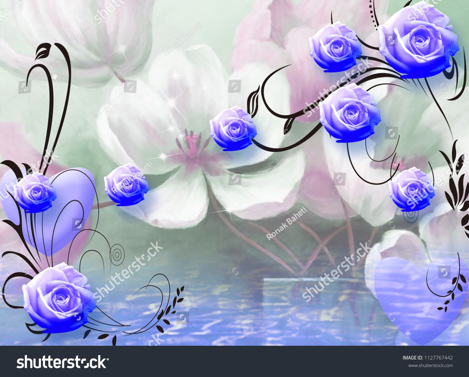3d Canvas flower background with heart.flowerCanvasheart