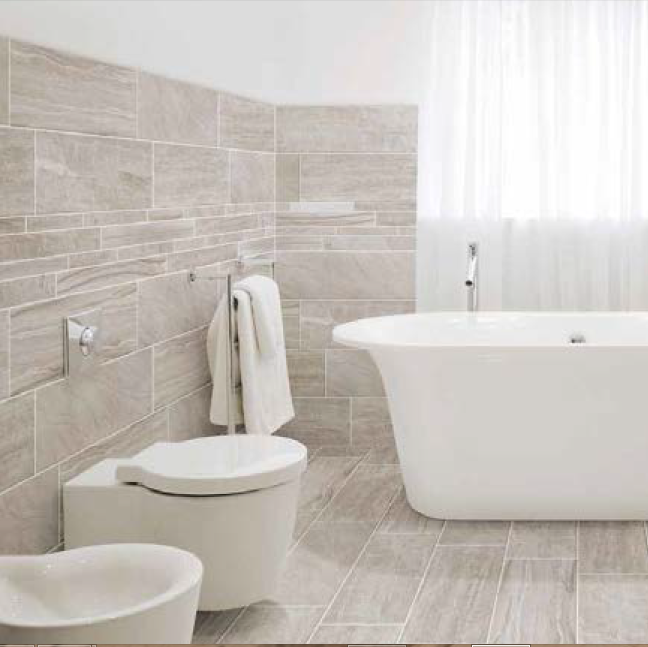 Marmomix Porcelain Tile In Taupe For A Bathroom Home