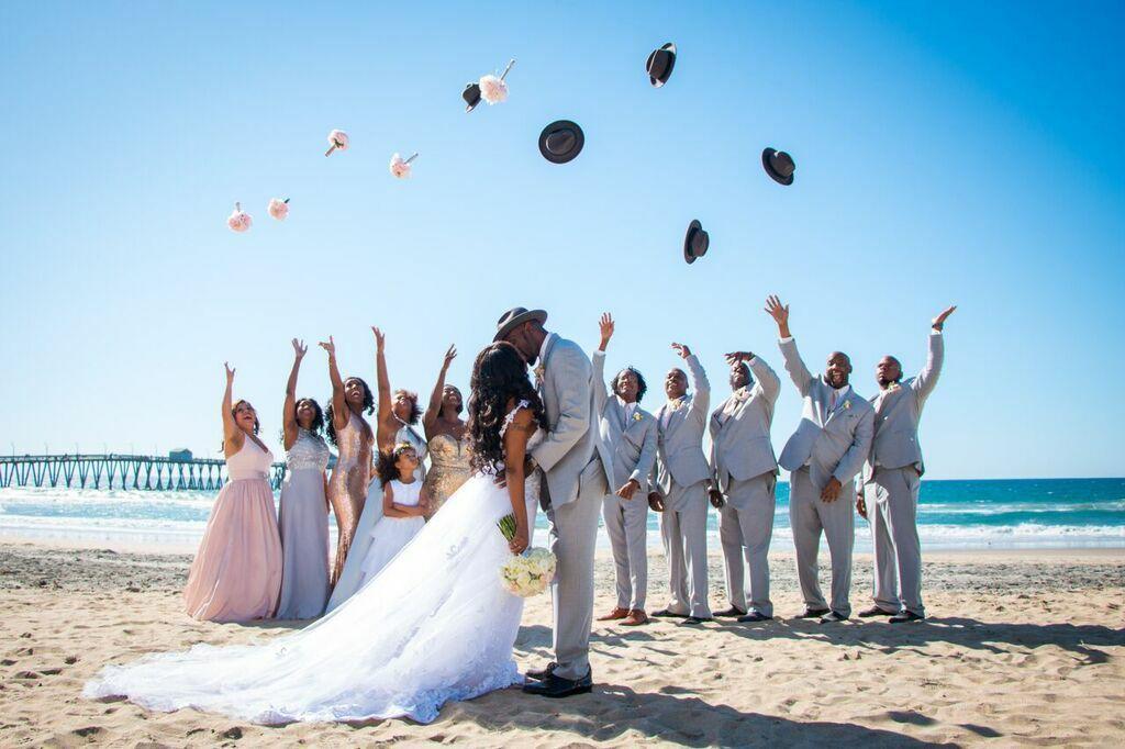 Fun Wedding Party Photo On The Beach San Diego Wedding Venues Dream Beach Wedding San Diego Beach Wedding