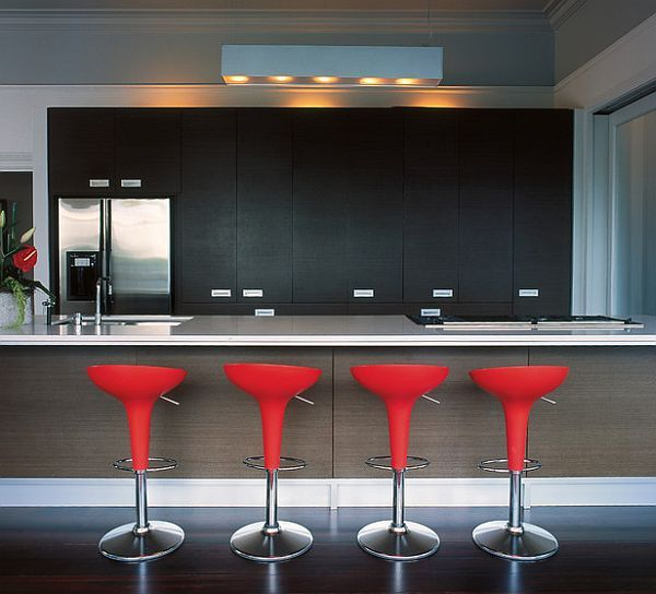 Red Kitchen Design Ideas Pictures And Inspiration Modern Kitchen Bar Red Bar Stools Modern Kitchen
