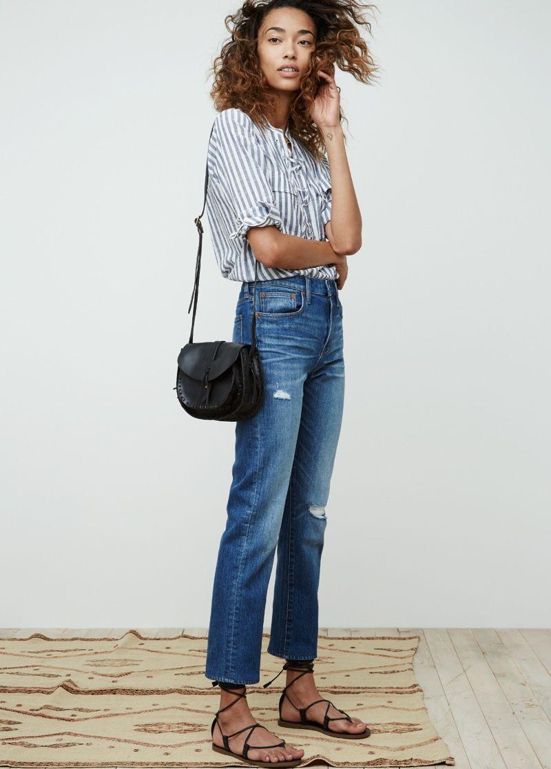 3b58cdcc4b248 striped blouse + boyfriend denim + lace up flats + crossbody bag.