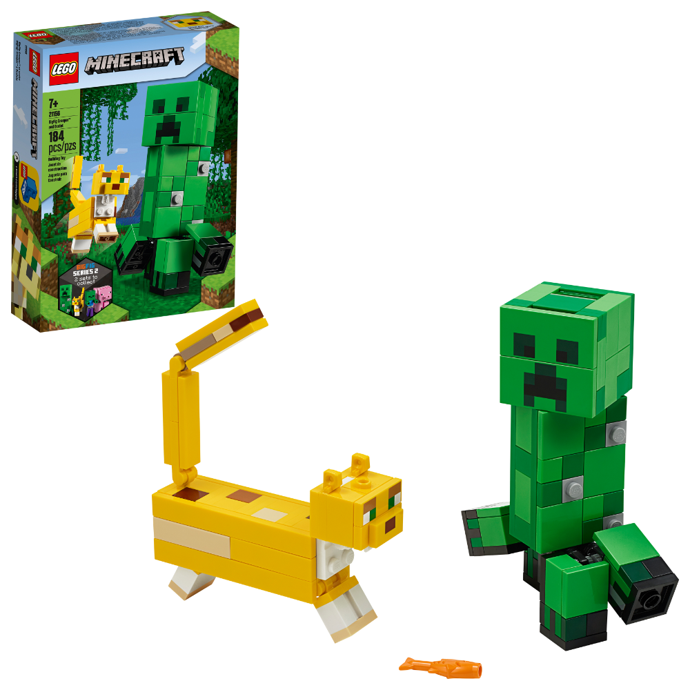 Lego Minecraft Creeper Bigfig And Ocelot 21156 Figurine Building Toy 184 Pieces Walmart Com Minecraft Toys Lego Minecraft Lego Toys