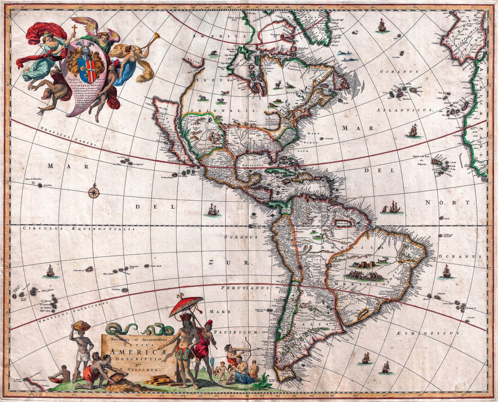 Antique Map North South America Vintage 1658 Fade Resistant Hd Print Or Canvas North America Map Vintage Maps Vintage Map