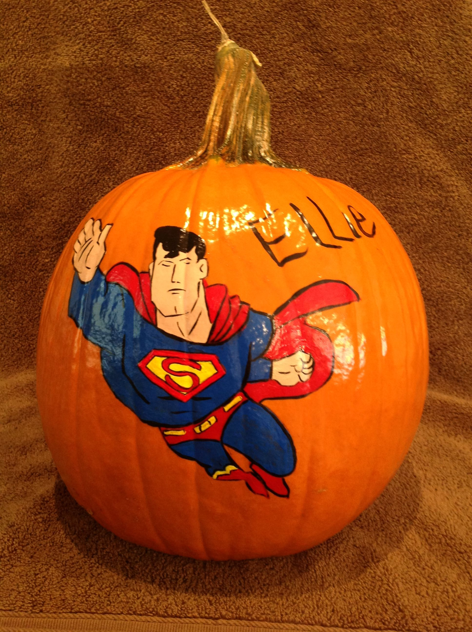Superman painted pumpkin 2013
