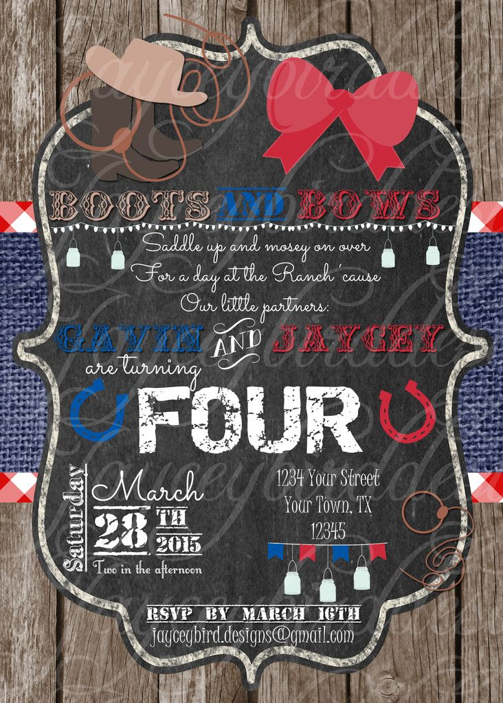 Professionally printed boots and bows cowboy and cowgirl birthday professionally printed boots and bows cowboy and cowgirl birthday invitation for twins siblings or multiples boots bows twins americana baby shower filmwisefo