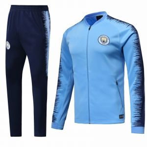 52de20b07 2018-19 Cheap Jacket Uniform Manchester City Blue Replica Training Suit   CFC458