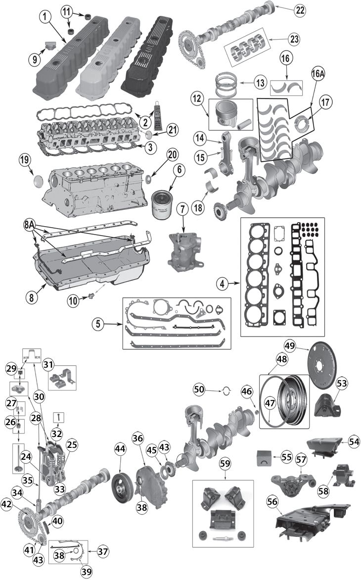 engine bay schematic showing major electrical ground points for 1987 2006 jeep® 4 0l 242ci inline 6 cylinder engine replacement parts