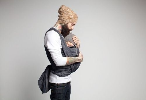 tattooed, baby wearing dad. swoon.
