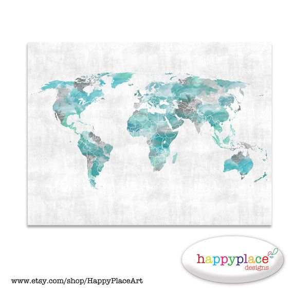 Aqua grey world map wall art print with personalised text or aqua grey world map wall art print with personalised text or quote custom watercolor map poster or printable custom map makes great gift gumiabroncs Image collections
