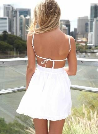 e5d46a0978d3 White Mini Dress with Tie Back and Frill Hem