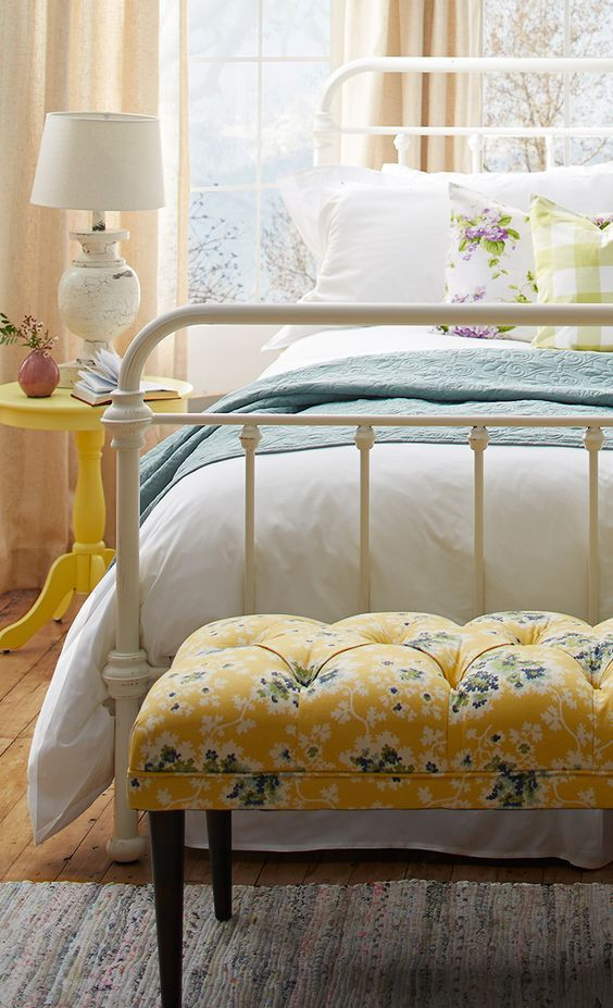 Cottage-style bedroom with pops of yellow | Bedroom Ideas ...