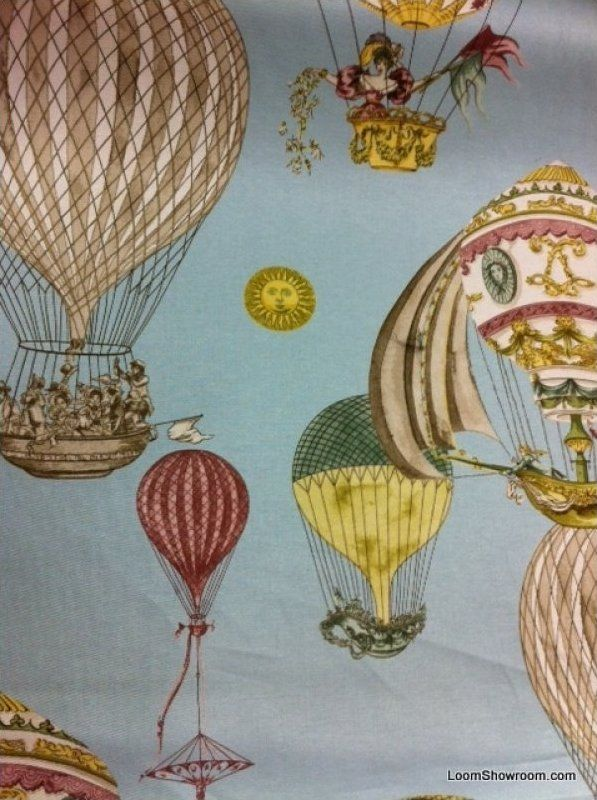 Waverly Hot Air Balloon Vintage Toile Print Heavy Weight
