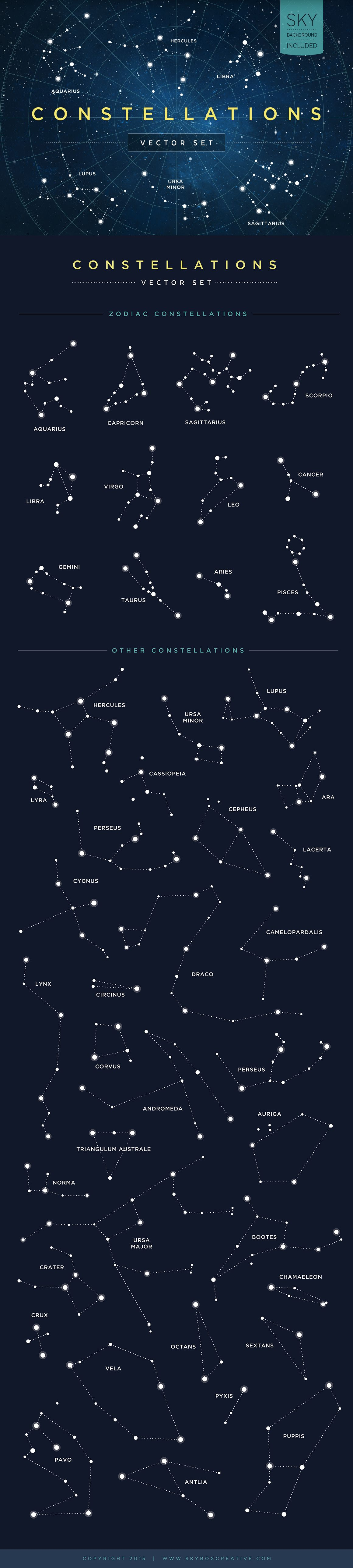 Look to the sky for inspiration. #constellations #zodiac #universe #stars #graphicdesign #geometry #vector #illustration #horoscope