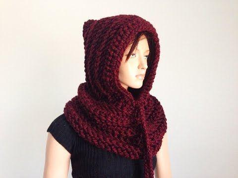 bastante agradable c5f00 7628b Crochet Bufanda Circular O Infinita Con Capucha y Orejas ...