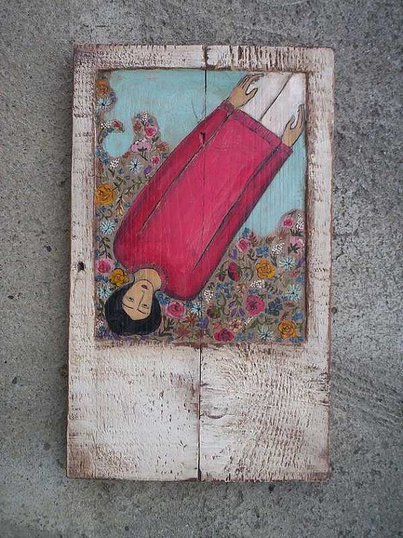 Happiness Rustic Acrylic Painting On Hand Carved Old by Popielnik, $156.00