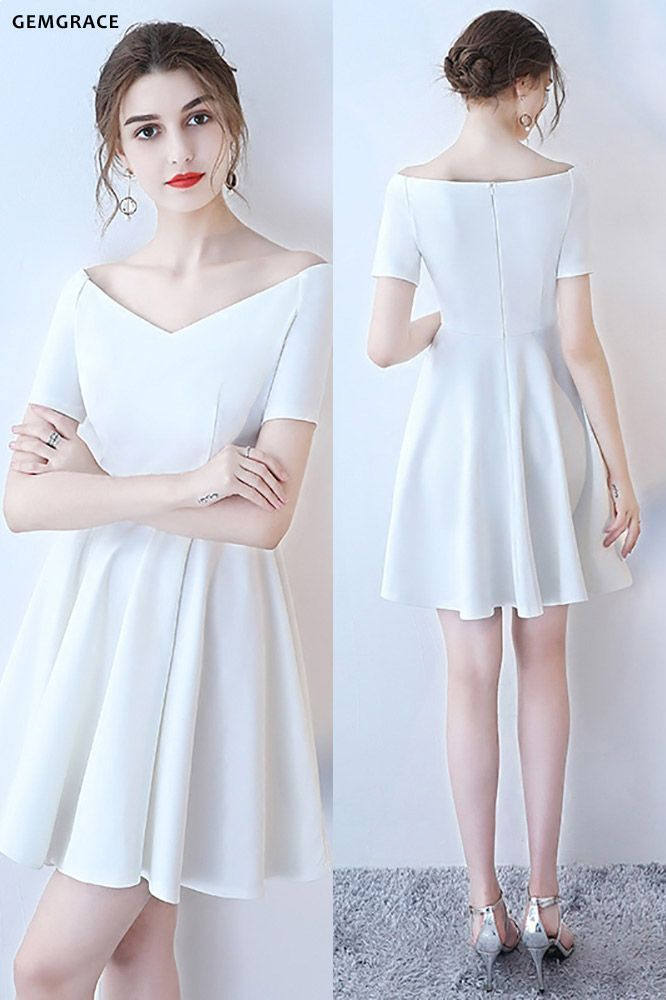 White Off Shoulder Simple Short Homecoming Dress with ...
