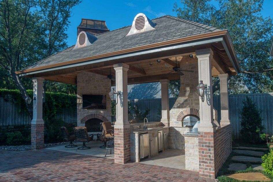Hypnotic Houston Tx Outdoor Kitchen Design With Red Brick Column Base Gazebo And Stone Corner Fireplace