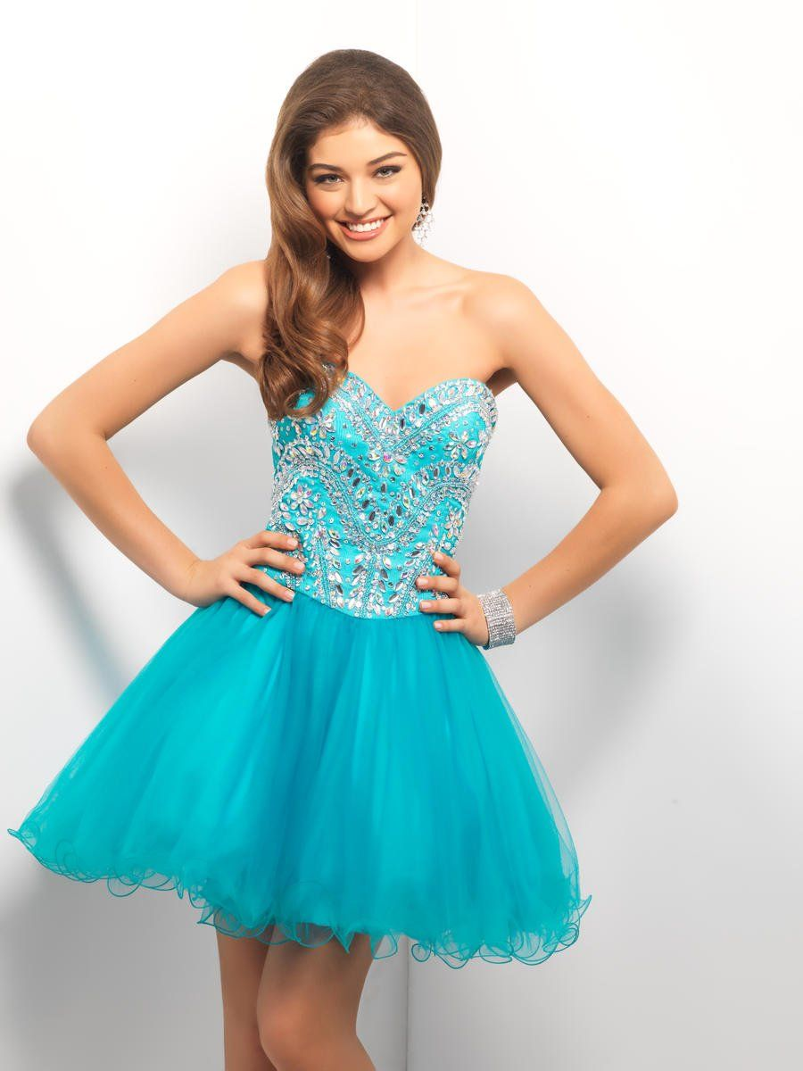 Robe cocktail bustier turquoise