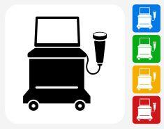 Ultrasound Machine Icon Flat Graphic Design Vector Art