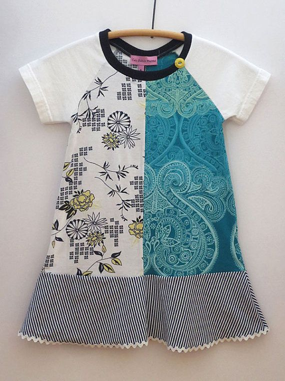 Upcycled OOAK  Size 5 TShirt Dress Mixed Print  by TwoSweetMamas, $35.00
