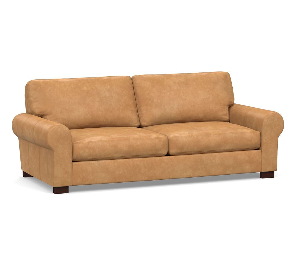 Turner Roll Arm Leather Sleeper Sofa In 2020 Leather Sofa Sleeper Sofa Pottery Barn