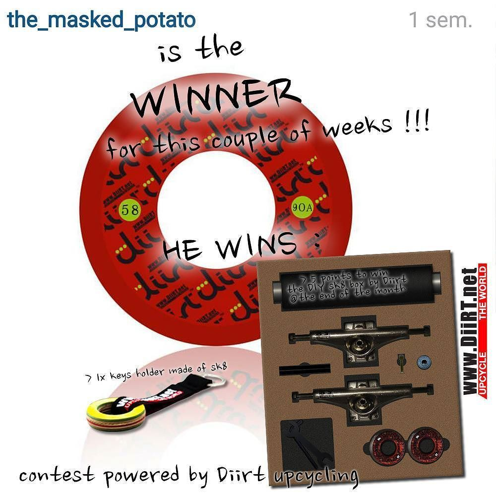@the-masked-potatoe is the winner for this week !!! Good job for this great artwork homie!! He wins a keyholder made of upcycled skates and get 5 points for the DIY SK8 BOX at the end of the month.  The giveaway is open to anyone every weeks monday to saturday night. And each month one very good guy or girl wins a skate cruiser with having the more cumulatives points of the entire month.  Cette semaine cest qui remporte le concours et se met 5 points dans la poche pour gagner la 1ère Box DIY…