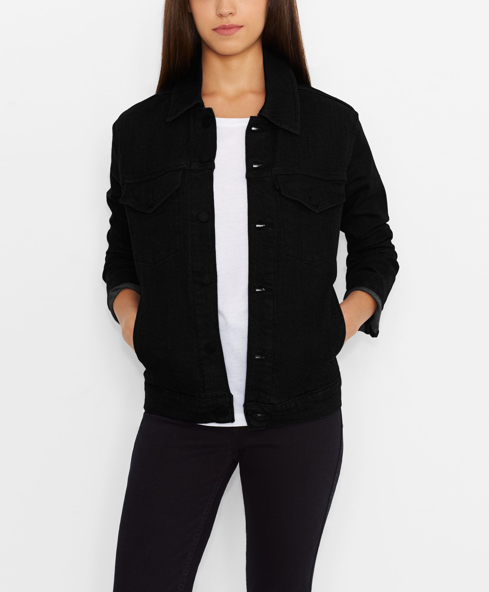 Levi's Line 8 Boxy Trucker Jacket - Solid Black - Jackets & Vests ...