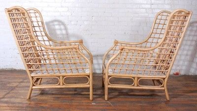 Pair of Vogue Rattan Wing Chairs w Ottomans Mid Century MCM Knoll | eBay