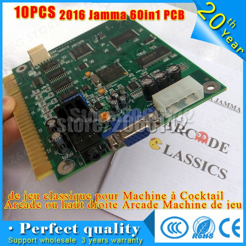 10PCS New Classical Games 60 in 1 Game PCB Board Jamma PCB CGA VGA