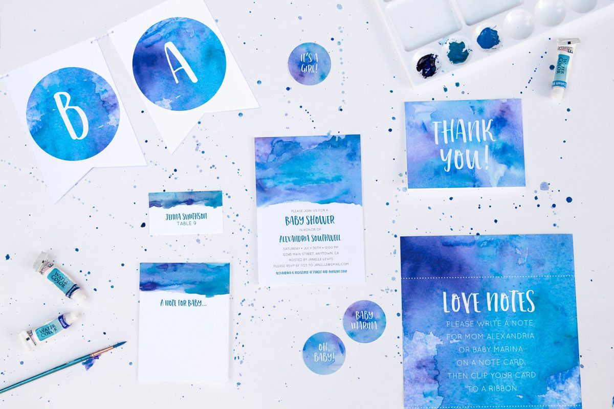 Free Printable Watercolor Party Suite - 7 pieces + Nursery Art Print, comes in 3 color options