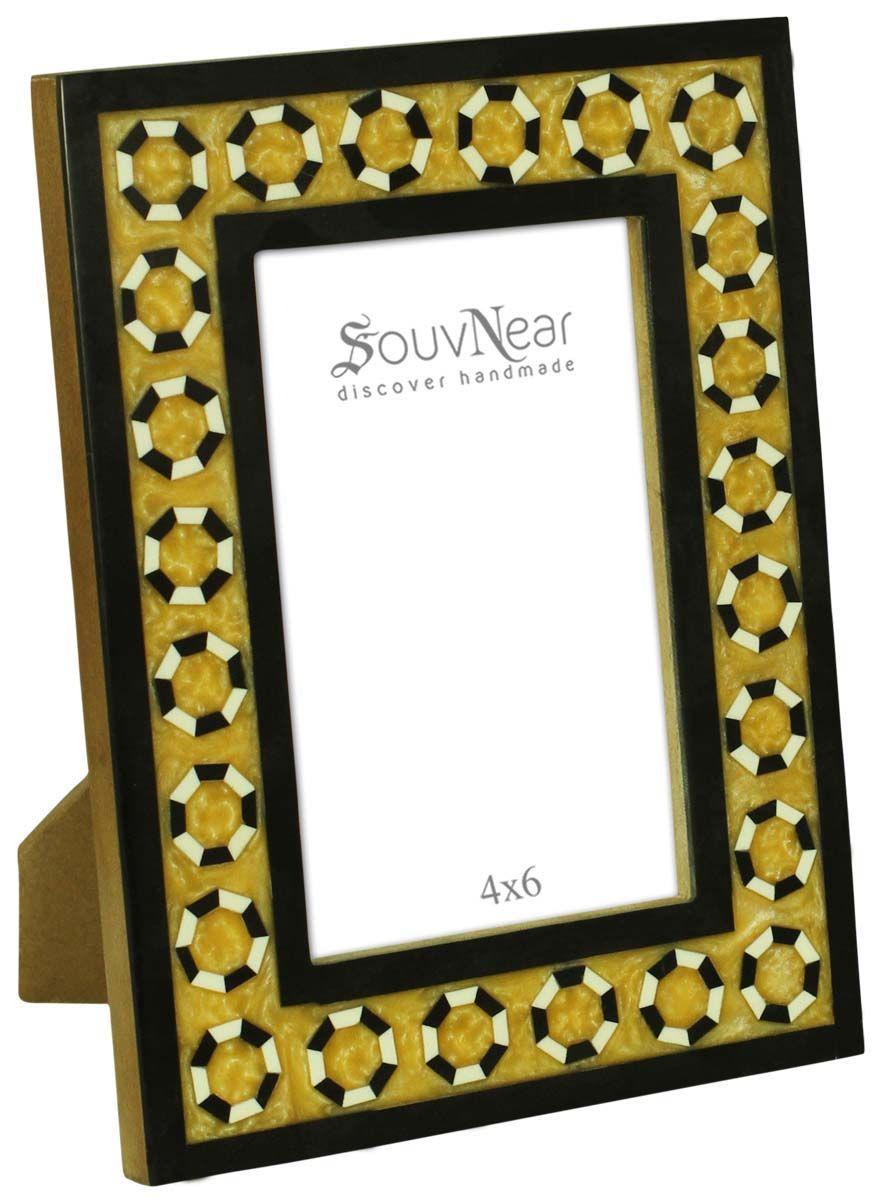 Rectangular Photo Frame In Black Mustard Color Handmade In Mdf Resin Home Office Decor Buy In Bul Handmade Photo Frames Unique Picture Frames Frame