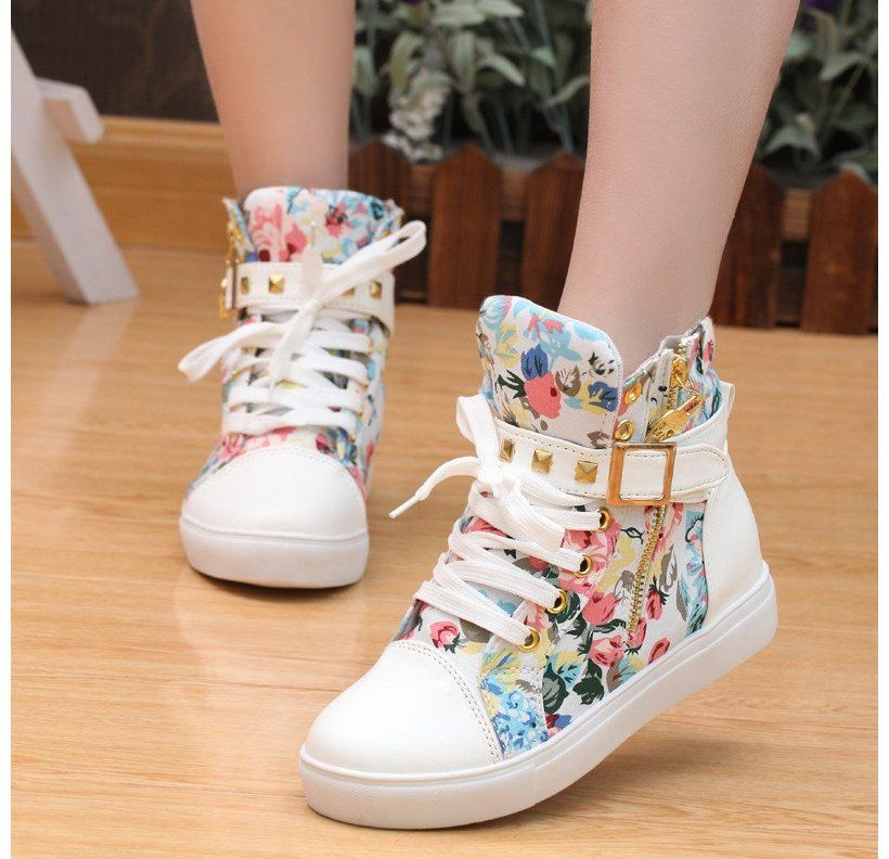 Sweet Girls Women's Floral Pattern Fashion Sneakers Lace Up Canvas Casual Shoes