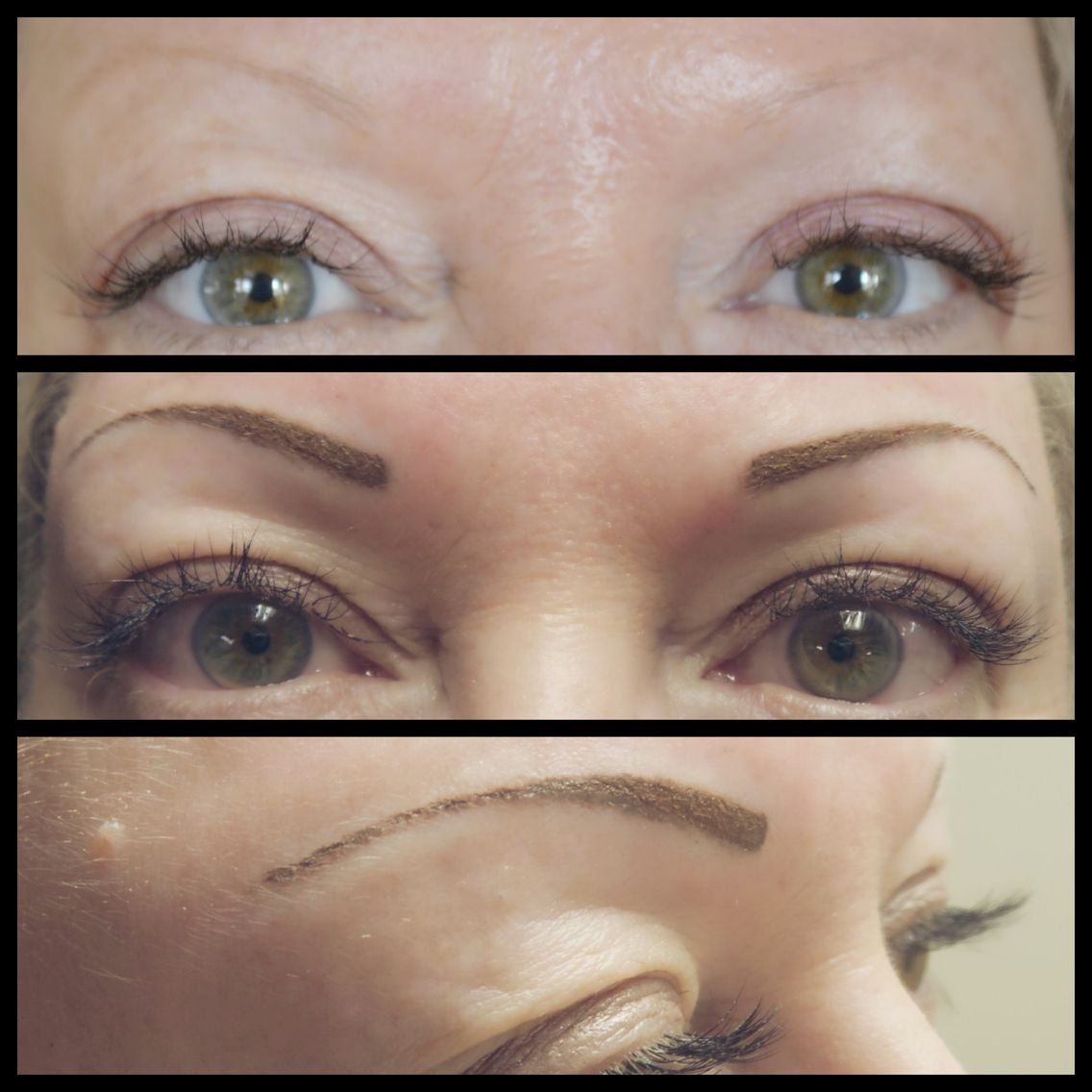 Cosmetic Tattoo Eyebrows Before And After Touch Up For This Blonde